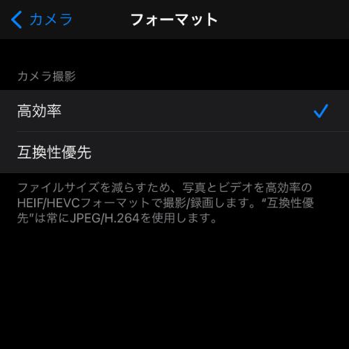 iPhoneカメラフォーマット
